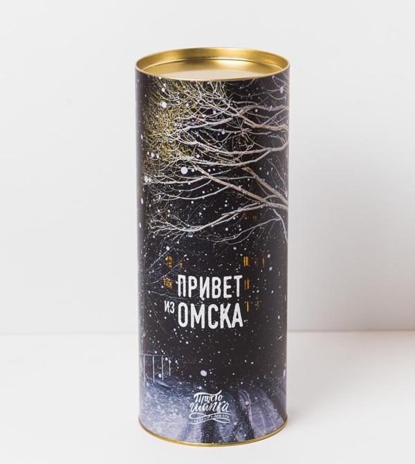Подарочный тубус «Привет из Омска» с изображением деревьев в снегу ночью