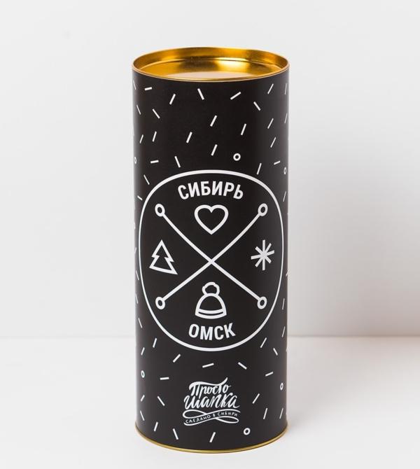Подарочный тубус «Сибирь. Омск». Черный цвет с символами Сибири