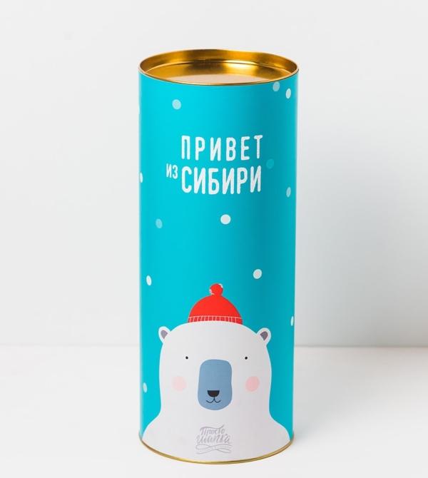 Подарочный тубус «Привет из Сибири» белый Мишка в красной шапке. Размер L