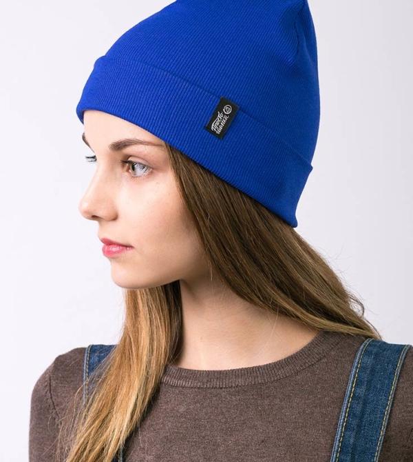 Шапка Магеллан, шапка удлиненная, шапка с подворотом, шапка с большой биркой, цвет синий